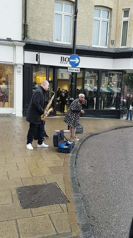 Street sax player @ Cambridge Market, UK