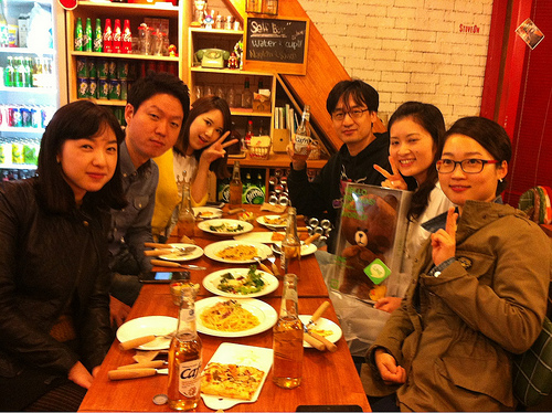 Dinner with the teacher and students of the Japanese class