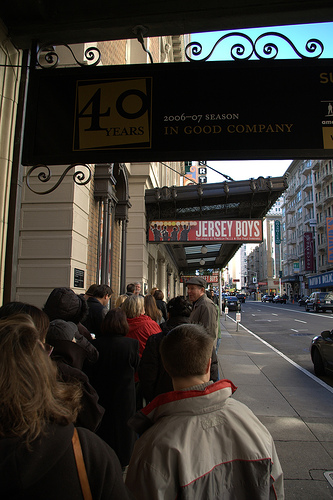 Line for buying rush ticket at Curran theater, SF