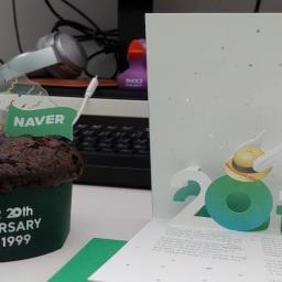 네이버 20주년 케익과 음료